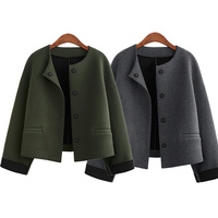 Autumn Winter Women Tweed Jacket Woolen Coats Full Sleeve O Neck Fashion Short Coat Woman Cardigan H9