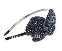 оптовая моды кристалл оставляет доли лентой простой черный и серый аксессуары для волос