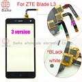 Reparação tela sensível ao toque para zte blade l3 tela sensível ao toque do painel de vidro digitador com cabo flexível cabo 3 versão preto/branco