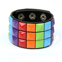 Fashion mens PU leather bracelet punk student Alternative fashion retro faux
