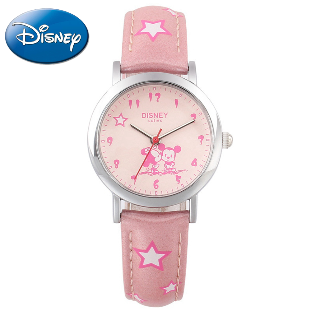 Cuties Minnie kiss Mickey mouse children cartoon leather quartz wristwatch Lovely kid fashion casual simple watches Disney 54127 нижнее белье disney 041100972 cuties 2014 9721 9726