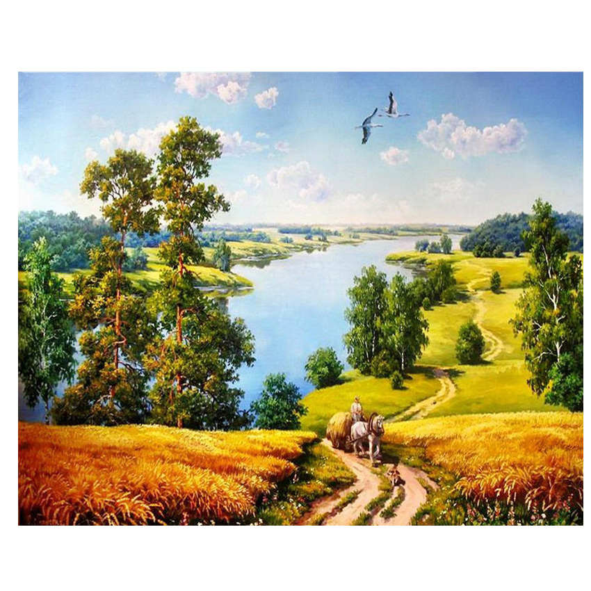 Forest Lakeside Painting By Numbers Oil Painting On Canvas Hand Painted Cuadros Decoracion 9 Types Acrylic Paint Home Decor in Painting Calligraphy from Home Garden