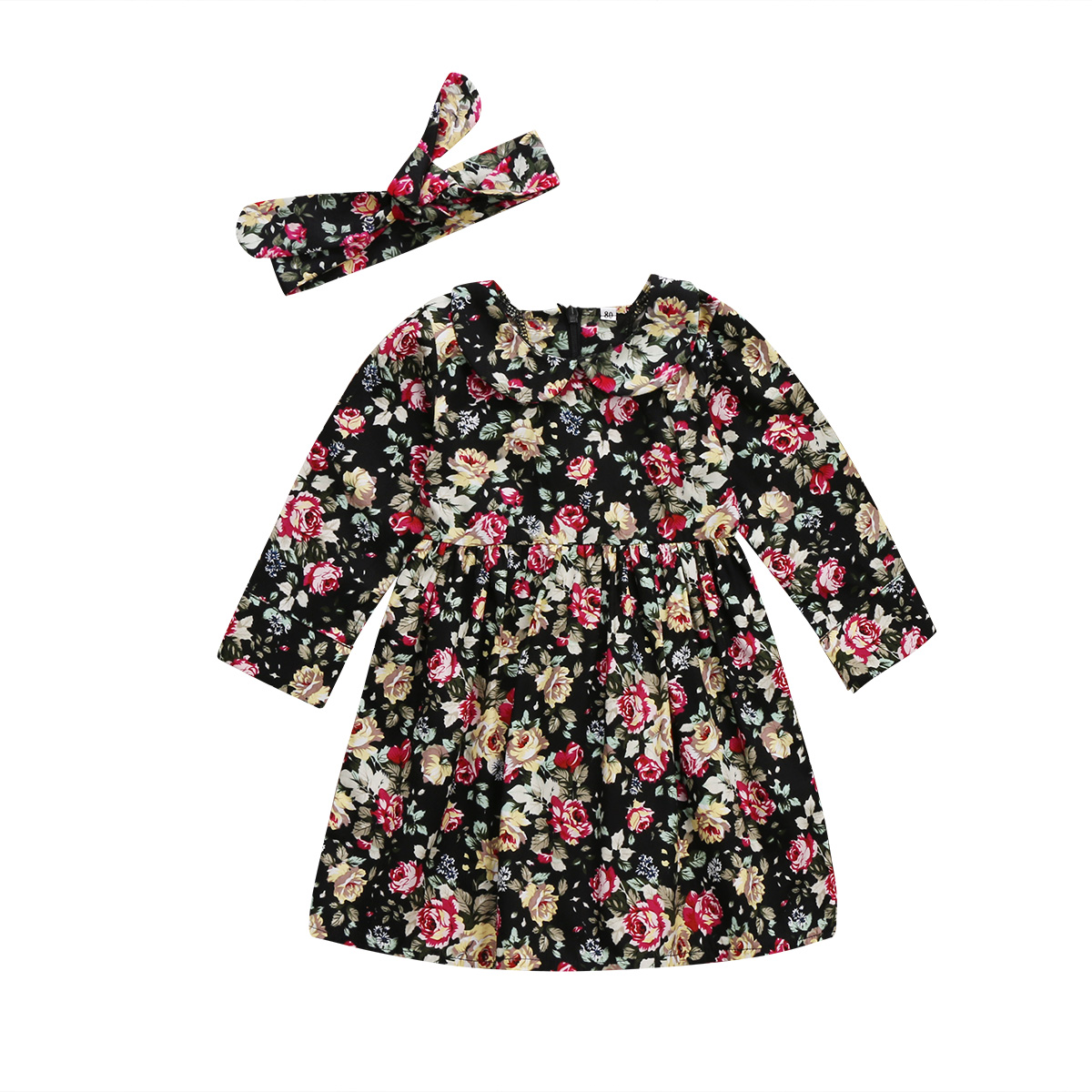 Fashion Toddler Baby Kids Girls Dress Long Sleeve Floral Party Dress Sundress Clothes Autumn Winter Cotton Vestidos Handband 2pc uoipae party dress girls 2018 autumn