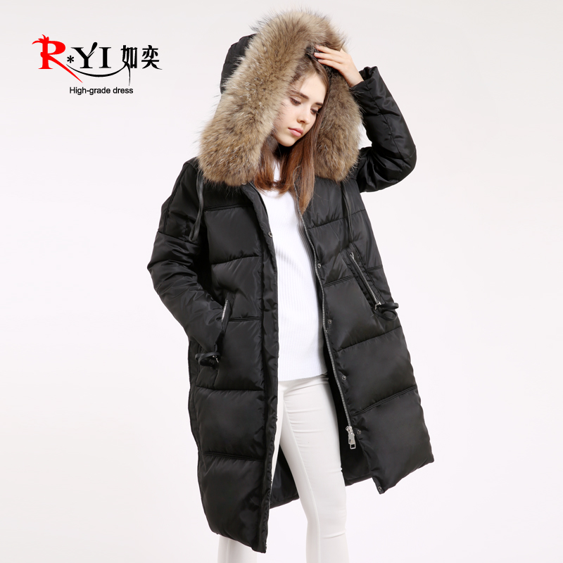 2015 new Hot winter Thicken Warm Woman Down jacket Coat Parkas Outerwear Hooded Raccoon Fur collar Luxury Mid long  plus size 2015 new hot winter thicken warm woman down jacket coat parkas outerwear hooded raccoon fur collar luxury mid long plus size xl