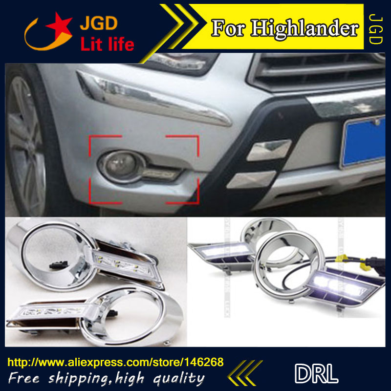 hot sale ! 12V 6000k LED DRL Daytime running light for Toyota Highlander 2009-2012 plating fog lamp frame Fog light hot sale 12v 6000k led drl daytime running light for toyota corolla 2007 2010 plating fog lamp frame fog light