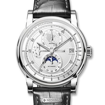 Switzerland NESUN Men Watch Luxury Brand Moon Phase Auto Mechanical Men's Wristwatches Sapphire Leather Relogio Clock N9022-1 switzerland luxury men s watche binger brand hollow out mechanical wristwatches sapphire full stainless steel b 5066m 6