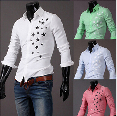 free shipping  England star printing special offer men's sell lots of men long sleeve shirt