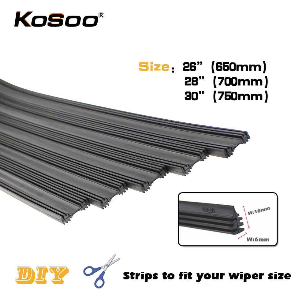 "KOSOO Auto Wiper Rubber Strip Vehicle Insert Car Wiper Blade Strips (Refill) 6mm Soft 26"" 650mm 28"" 30"" universal Accessories(China)"