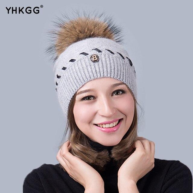 2016  Hat Big Raccoon Pom Pom Hat Cashmere Wool Fox Pom bobble hat  crochet hat