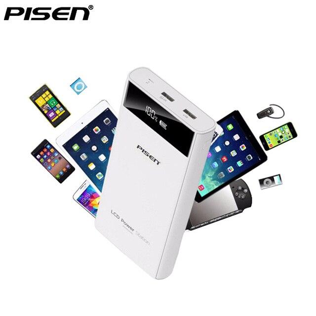PISEN Power bank 10000 мАч 20000 мАч ЖК-Экран Powerbank Внешняя Батарея 18650 Dual USB Зарядное Устройство Для iPhone 6 6 plus xiaomi huawei