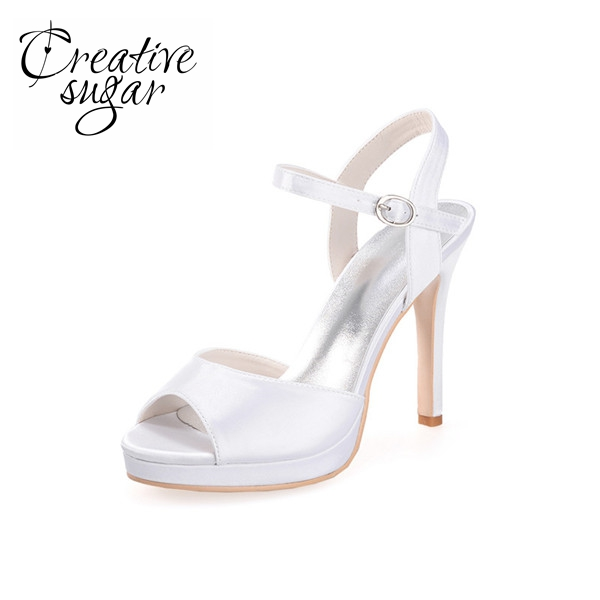 цена на Creativesugar Elegant satin sandals summer style ankle strap woman heel stiletto shoes wedding party prom purple red blue white