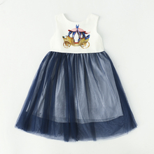 Girl dress for kid Europe  2017 spring & summer girl sleeveless rose embroidered princess party