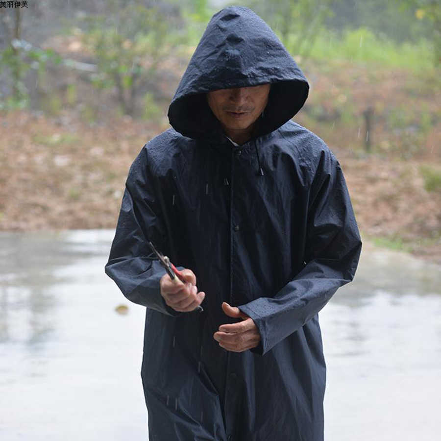 581a841e5a2 ... Long Raincoat Men Black Waterproof Poncho Outdoor Nylon Rain Coat Men  Male Jacket Parka Casaco Raincoats ...