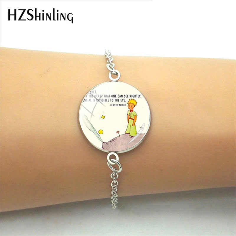 2019 New Fashion Little Princes Sign Glass Pendant Leather Bracelet Handmade Ladies Fashion Jewelery Wonderful Birthday Gift