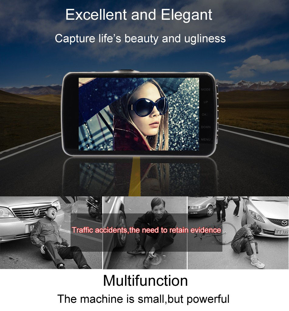 Mini Car DVR H801B With Rear View Camera Dual Lens Dash Cam 4 Inch Full HD 1080P+720P WDR Video Recorder Portable Camcorders-1