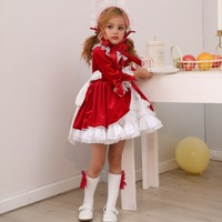 4PCS Spain Dress Girls Royal Costumes Kids Princess Wedding Birthday Dresses Party Lace Robe Fille Baby Girl Christmas Clothing