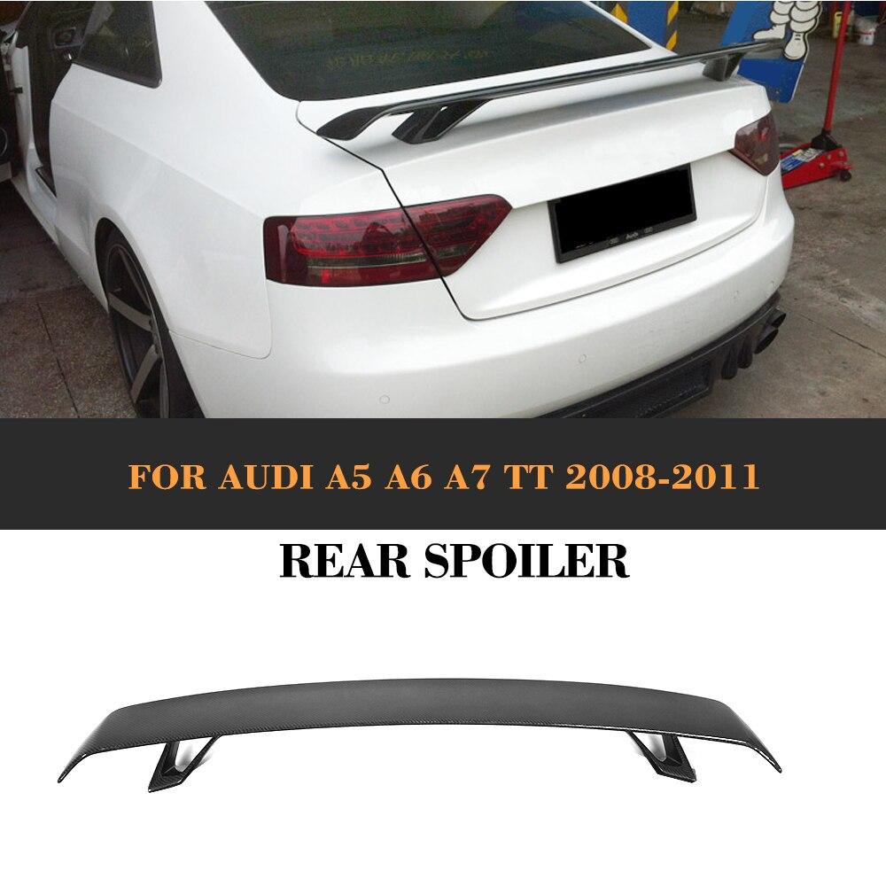 Carbon Fibre Rear Trunk Spoiler Lip Wing for Audi A5 A6 A7 S7 RS7 Sedan TT 2 Door Convertible 08-11 Black FRP