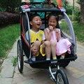 3 em 1 Bicicleta Gêmeos Reboque, 20 polegadas grande roda carrinho de bebê, dobrável crianças jogger, reboque de bicicleta de dois lugares, crianças ao ar livre wagon