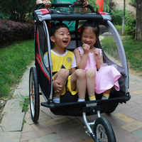 3 in 1 Twins Bike Trailer, 20inch big wheel baby stroller, foldable kids jogger, two seats bicycle trailer, kids outdoor wagon