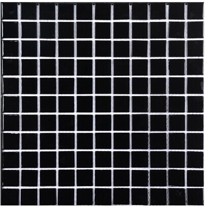 Pure Black Ceramic Mosaic Tile Wall Floor Ceiling Tile Bathroom Kitchen  Backsplash DIY Home TV Background