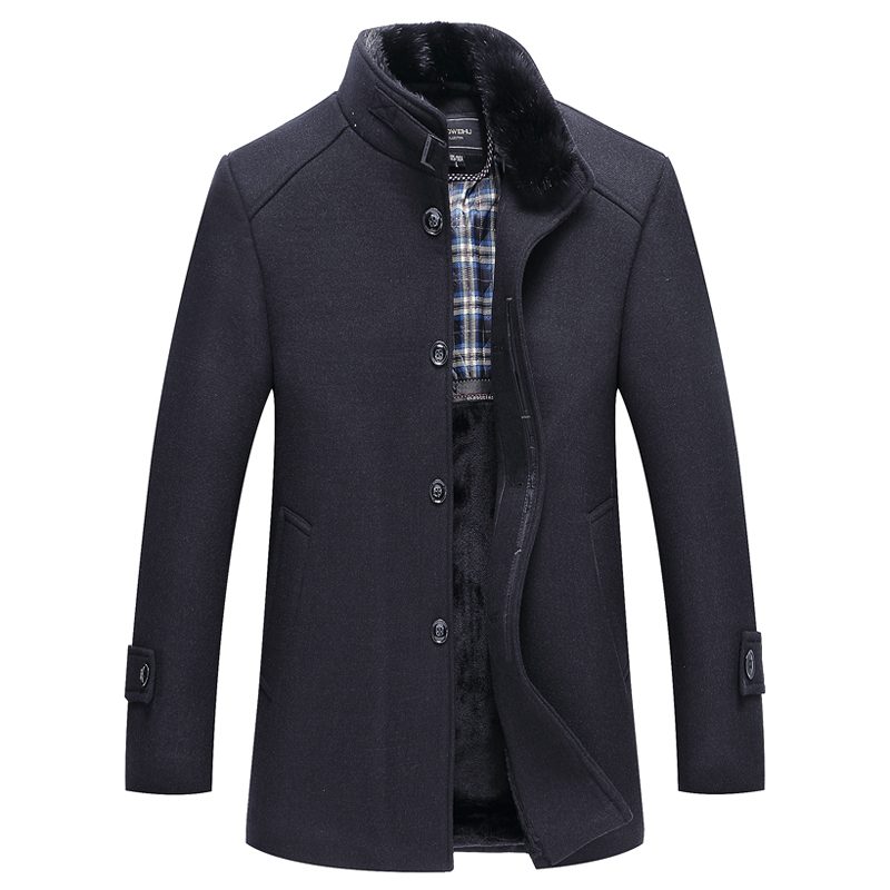 new Autumn And Winter Top Quality Parka men Jacket Coat Overcoats Male Wool Blends Outerwear Rabbit Fur Collar Mens windbreaker