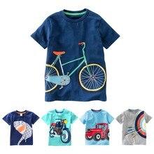 Хлопковая футболка для мальчиков детские рубашки Повседневная футболка с короткими рукавами и принтом машины для маленьких мальчиков, летние детские футболки для малышей, топы