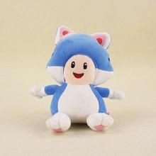 18cm Super Mario Bros KINOPIO Doll 3D World Game Cartoon Cat Blue Mushroom Toad Stuffed Animal Plush Toys