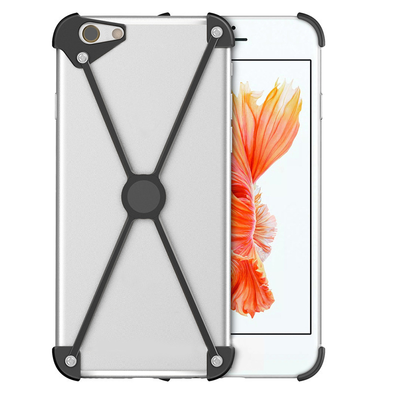 Bumper Case for iPhone X, Slim Aluminum Metal X-Frame Phone Bumpers protection cover X-type with magnet design