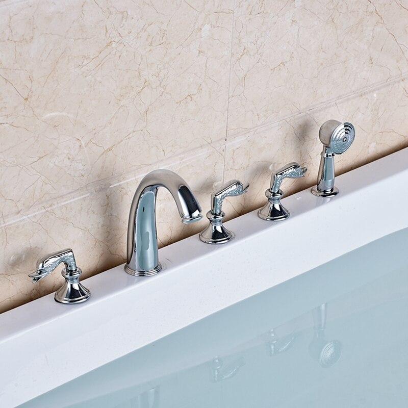 Elegant Chrome Brass Bathroom Tub Faucet 5 PCS Tub Sink Mixer Tap W/ Hand Shower chrome brass finish 5 pcs long spout waterfall bathtub sink tap bathroom mixer hand held tub mixer faucet set
