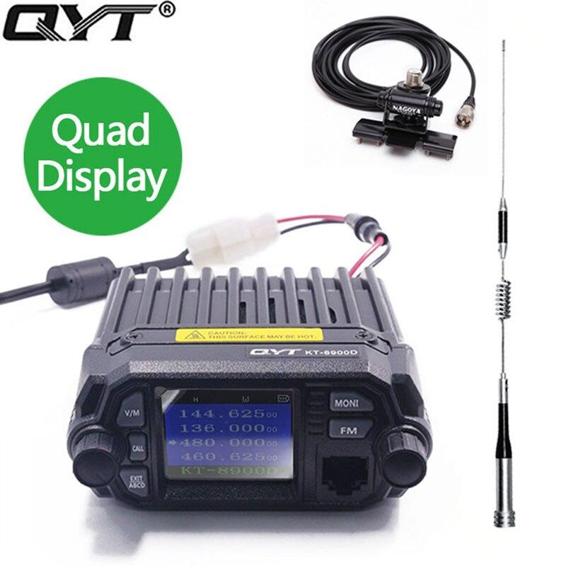 QYT KT-8900D 25 W Véhicule Monté à Deux Voies Radio avec Programmation Mise À Niveau du câble KT-8900 Mini Mobile Radio avec Quad Band Grand LCD