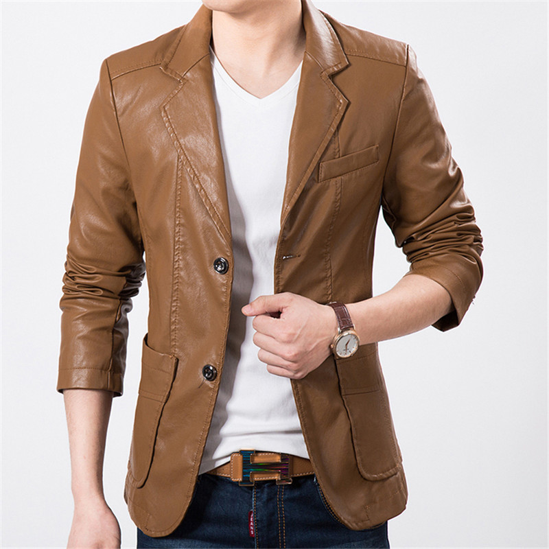 Popular Mens Brown Leather Blazer-Buy Cheap Mens Brown Leather Blazer Lots From China Mens Brown ...