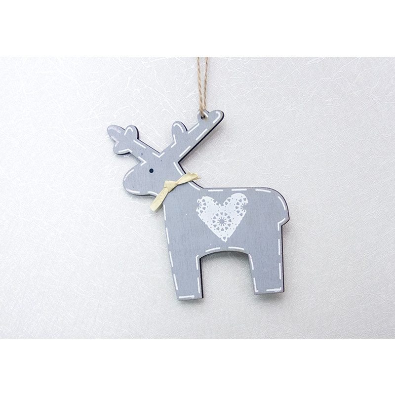 1Pcs Wooden Heart Deer Elk Hanging Christmas Ornaments for Christmas Tree Decorations 2019 New Year Party Home Decor Pendants in Pendant Drop Ornaments from Home Garden