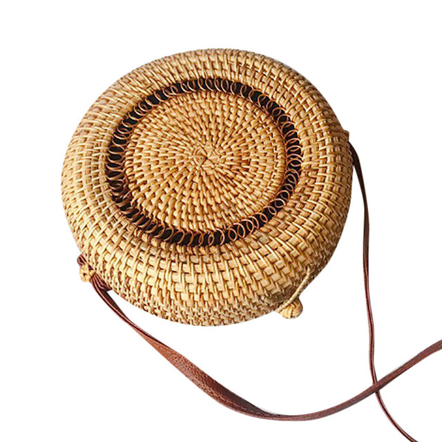 2019 Women Beach Bag Summer Big Totes With Zipper Circle Handwoven Bali Round Retro Rattan Straw Crossbody Handbag Shoulder Bag 1