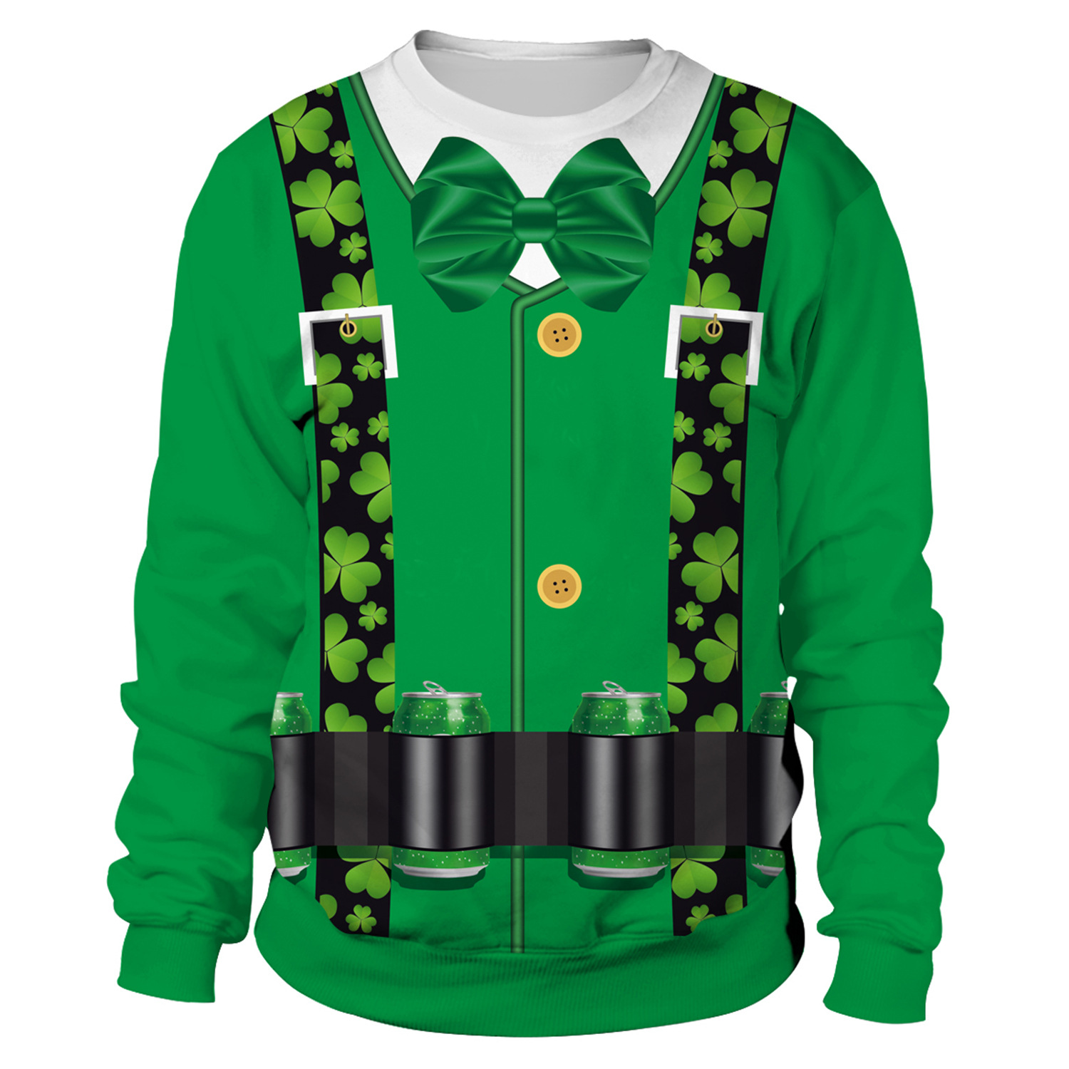 St Patrick's Day Green Shamrocks Belt Print Hoodies Men Hoodie Round Neck Loose Sweatshirt Pullover Streetwear