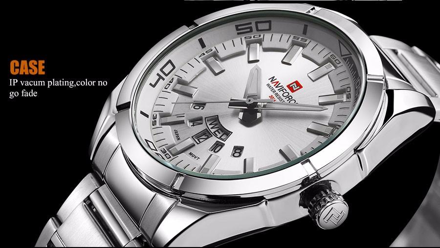 Naviforce NF9038 Men Sport Quartz Watch Stainless Steel Strap