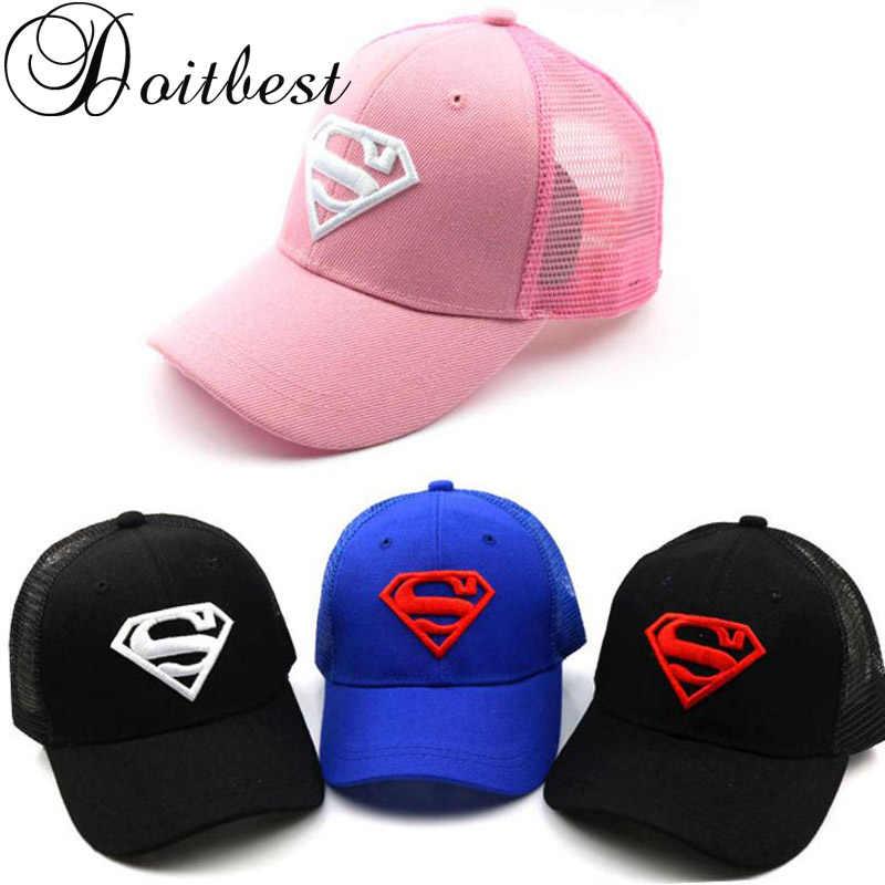 804db4e3c42 2018 Children Mesh Child Baseball Cap Hot Summer Embroidery Superman kids  Sun Hat Boys Girls snapback