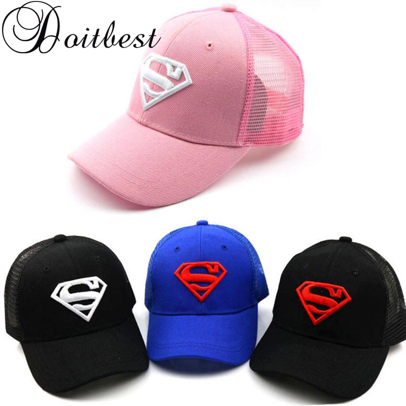 0684011a1ee 2018 Children Mesh Child Baseball Cap Hot Summer Embroidery Superman kids  Sun Hat Boys Girls snapback Caps for 2-8 years