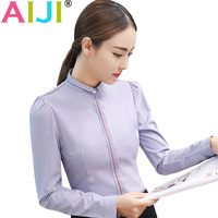 AIJI Autumn Summer Women S Long Sleeve Blouse Shirts OL Elegant Solid Formal Chiffon T Shirt