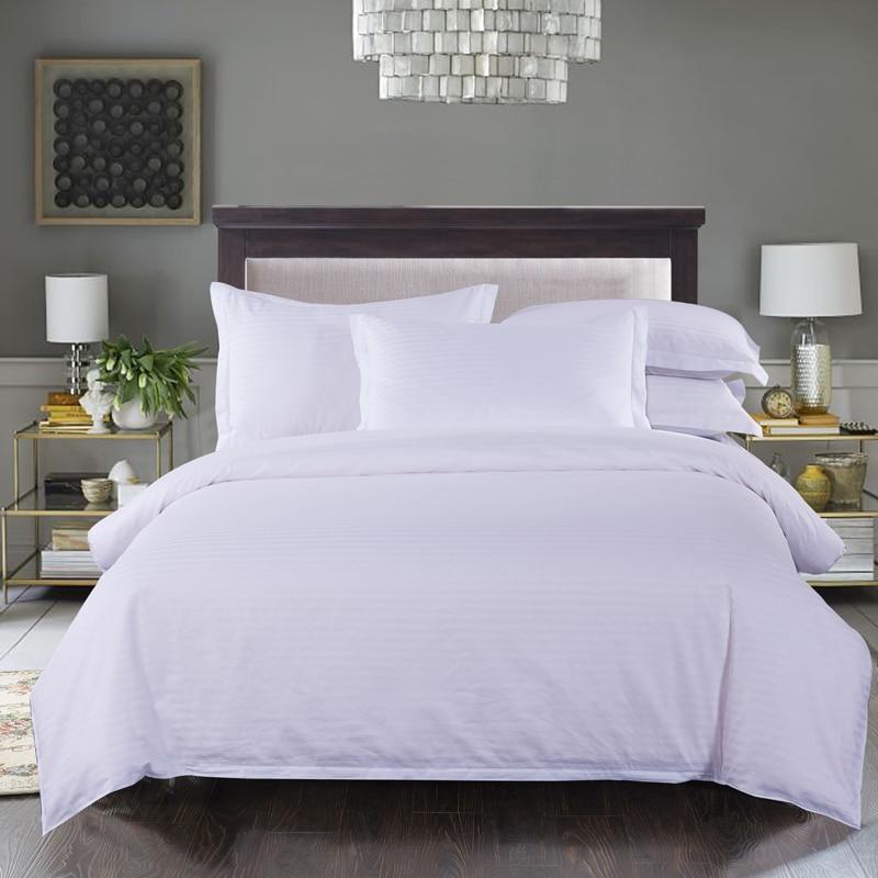 100% coton pur blanc Solide couleur satin bande literie grogshop Textiles de Maison 4 Pcs housse de couette drap de lit taie d'oreiller doux