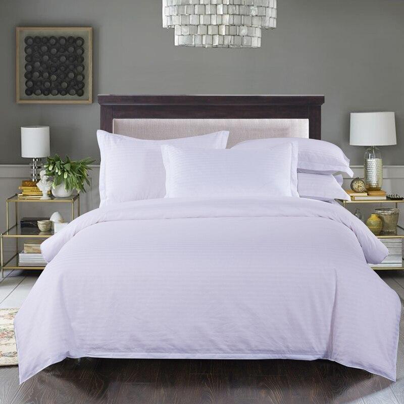 100% coton pur blanc solide couleur satin rayure literie grogshop Textiles de maison 4 pièces housse de couette drap taie d'oreiller doux