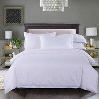 100% cotton pure white Solid color satin stripe bedding grogshop Home Textiles 4Pcs duvet cover bed sheet pillowcase soft