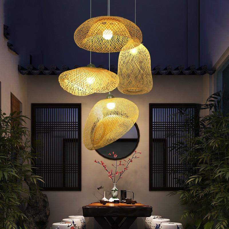 Işıklar ve Aydınlatma'ten Kolye ışıkları'de Çin yaratıcı bambu avize restoran aydınlatması japon Zen hasır şapka Hanglamp ev dekoratif kuş Led aydınlatma E27 title=