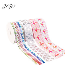 JOJO BOWS 75mm 2y Grosgrain Stain Ribbon For Crafts Printed Laser Tape For Needlework DIY Hair Bows Material Holiday Party Decor martha stewart crafts silver ribbon bows