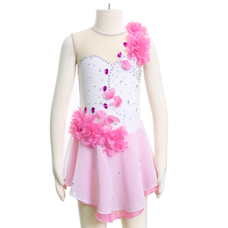 Customized Costume Figure Skating Dress ice skating skirt Gymnastics Competition Adult Child Girl Skirt Performance Pink Flower customized costume ice figure skating gymnastics dress competition adult child girl pink skirt performance fold off shoulder