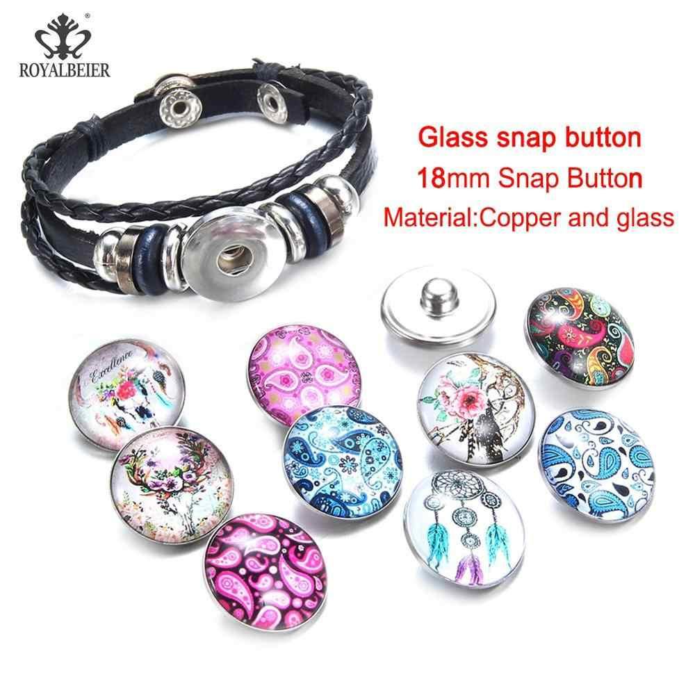 Royalbeier 10 sztuk DIY przystawki przycisk bransoletka biżuteria kobiety akcesoria szklane i kot zdjęcia i zatrzaski 18mm przystawki przycisk urok