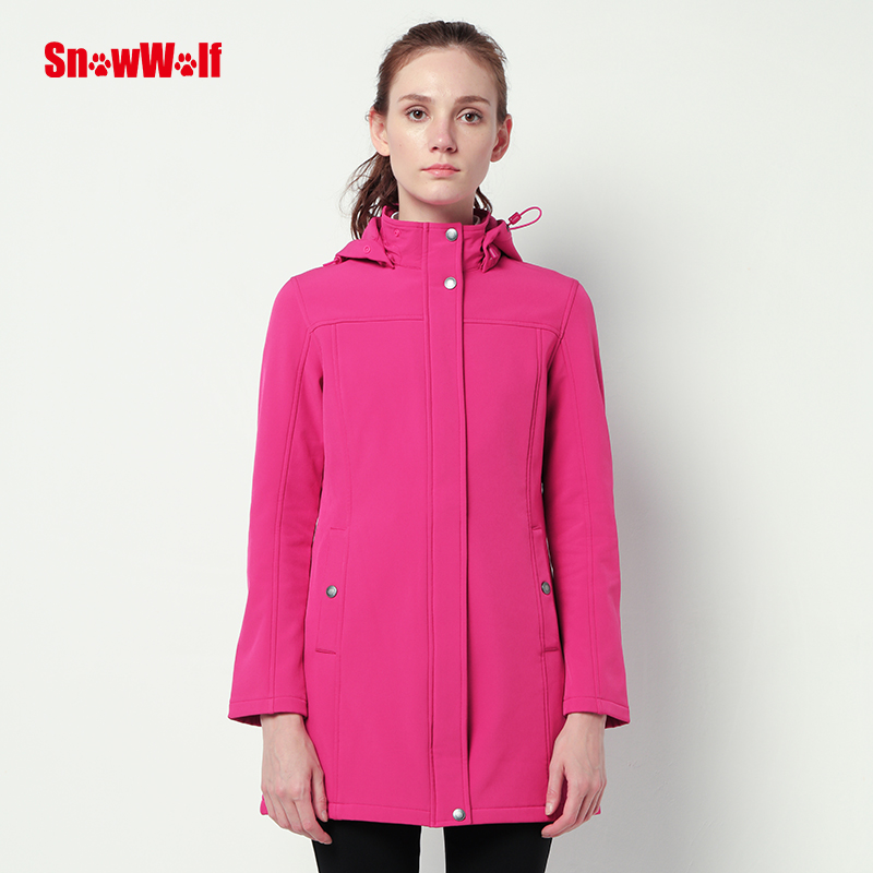 SNOWWOLF Outdoor Waterproof Softshell Woman's Long Jacket winter overcoat with Hood for Camping Hiking