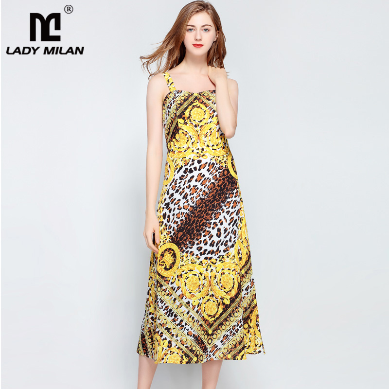 Lady Milan 2018 Womens Spaghtti Straps Leopard Printed High Street Fashion Summer Holiday Dresses