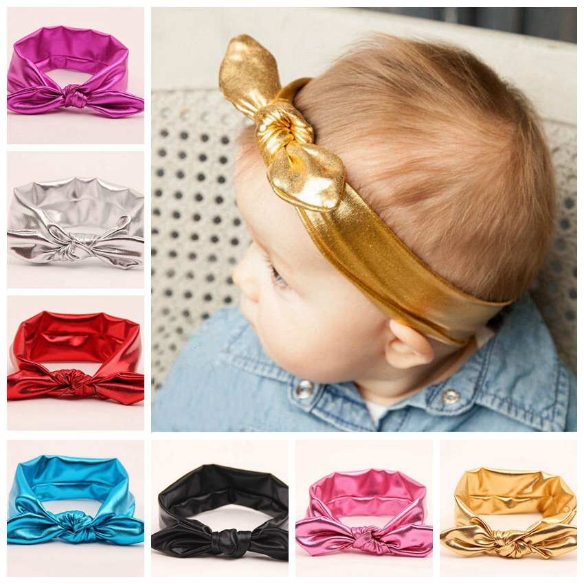 50pcs HeadWrap hair band bronzing Turban Twist Headband elastic Head Wrap Twisted Knot Metallic Bunny Ears