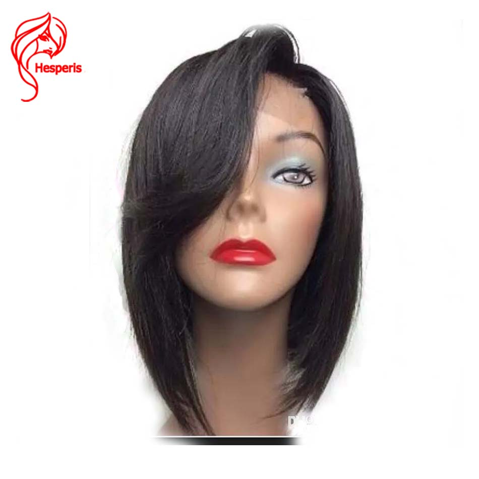 Hesperis Lace Front Human Hair Wigs Brazilian Remy Hair Short Bob Wigs Bleached Knots Side Part Pre Plucked Bob Lace Front Wigs-in Human Hair Lace Wigs from Hair Extensions & Wigs    1