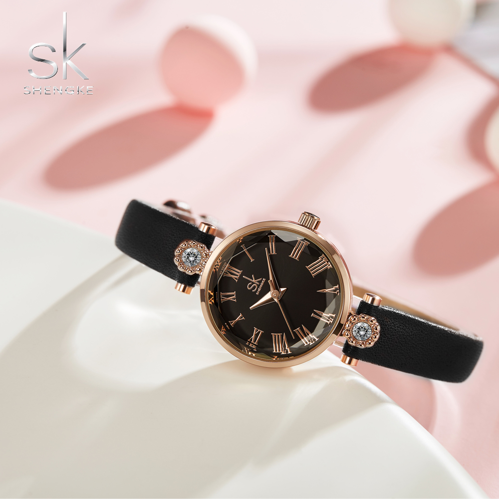 Shengke Luxury Women's Watches Quartz Leather Strap Clock Crystal Dial Decoration Waterproof Ladies Wristwatch Relogio Feminino